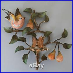 VTG Pair Shabby French Chic Toleware Wall Sconce Candle Holder Birds Pears x 2