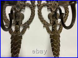 VTG Solid Brass Victorian Design Style Candlestick Candle Holders Wall Sconces