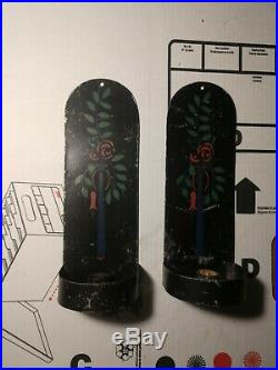 VTG Toleware pair black Painted Tin Wall Sconce Lantern Candle Holder Lamp 1900s