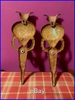 Victorian Style Brass Torch Wall Sconces Pair Candle Holder Flowers Tassel Vtg