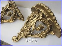 Victorian Wall Sconces Candle Holder Shelve Shelf Gold Rococo Gilt Leaf Baroque