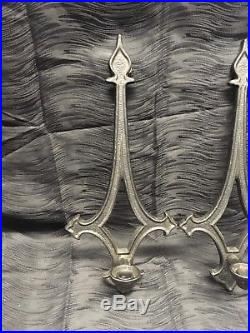 Vintage 17 Gothic Medieval Style Cast Metal Candle Holder Wall Sconce Set Pair