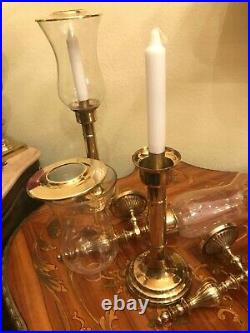 Vintage 4 Brass Wall & Table Candle Holders 2 Wall & 2 Table Candle Holders