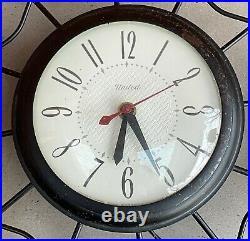 Vintage 50s 60s United Electric Wall Hanging Clock Atomic Era Mid Century Modern