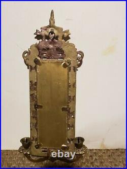 Vintage 60s ornate metal Frame Wall Sconce Beveled Glass Mirror & Candle Holder