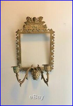 Vintage 7 x 11 satyr head candle holders brass wall frame cadre laiton ca 1900