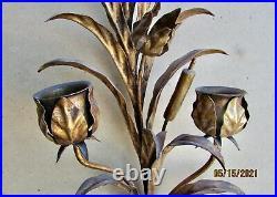 Vintage Antique Large Metal Wall Gilt Tole Sconce Ornate Candle Holder