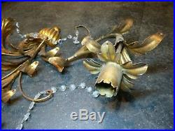 Vintage Antique Patina Wall Sconce 2 Candle Holder Ornate deco 1950's 30 x 26