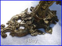 Vintage Antique Solid Bronze Brass Angelic Cherub Wall Sconce Candle Holder
