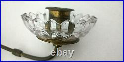 Vintage Art Deco Brass & Glass Sconce Candle Holder Victorian Wall Mount Patina