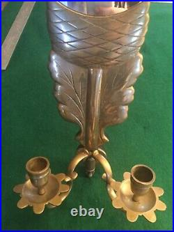 Vintage Art Deco Bronze wall sconce double candle holder withmirror