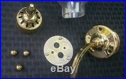 Vintage Brass And Glass Off Wall Mount Sconce Hurricane Globe Candlestick Pair