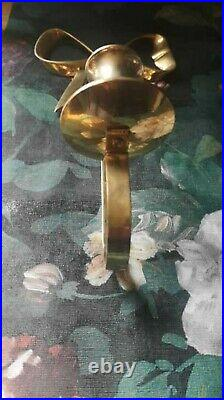 Vintage Brass Bow Wall Sconce X2 Pair Of Gold Candle Holders never used
