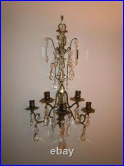 Vintage Brass & Crystal Prisms French Style Candle Holder Wall Sconce Pretty