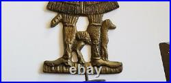 Vintage Brass Folk Art Wall Hanging Candle Holder Sconce Colonial Man With Dog