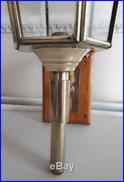 Vintage Brass & Glass Panel Eagle Carriage Lantern Wall Mounted Candle Holder