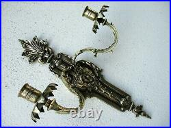 Vintage Brass Louis XV Style Beautiful Figural Double Candle Holder Wall Mount