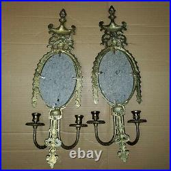 Vintage Brass Ornate Mirror Candle Holders Wall Sconces Pair Large 24