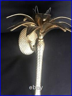 Vintage Brass Pineapple Palm Tree Wall Sconce Taper Candle MCM Chinoiserie Decor