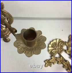 Vintage Brass Wall Mount Candelabra Set Of 2 Made In India 14 Long 11 Wide EUC