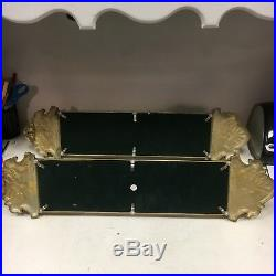 Vintage Brass Wall Sconces with Mirror Candle Holder Ornate Antique Style