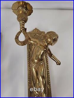 Vintage Bronze Cherub Italian Made Ornate Wall Sconce Candle Holder