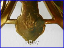 Vintage Cast Brass Wall Sconce Beveled Glass MIRROR & CANDLE Holders Victorian