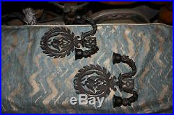 Vintage Cast Iron Double Arm Wall Sconce Candlestick Holders Pair Eagle Heart