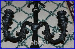 Vintage Cast Metal Gothic Medieval Wall Sconce Candelabra Holds 2 Candles