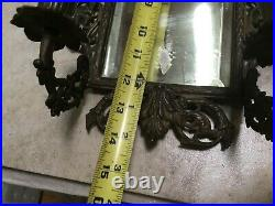 Vintage Cast Metal Wall Bevel Mirror & Candle Holders W-36