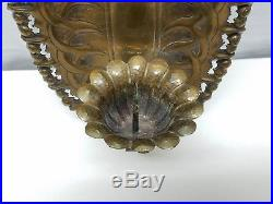 Vintage Charleton AWCO Brass Wall Sconce Candle Holder Repousse Metal Art Flower