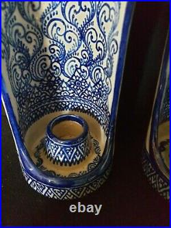Vintage China Delft Style Blue & White Wall Sconce Candle Holders X2 Collectable