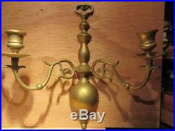Vintage Colonial Williamsburg Brass Ball Wall Sconces Candle Holders Pair (2)