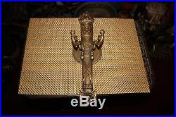 Vintage Double Arm Wall Sconce Candle Holder Light Fixture Gothic Medieval Brass