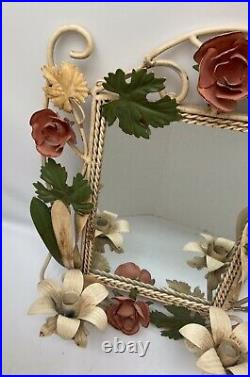 Vintage Floral Metal Tole Wall Mirror Candle Scone Holder Cottage Roses 17