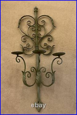 Vintage French Metal Candle Holder Sconce 3 Branch Wall Mount Toleware Scrolls