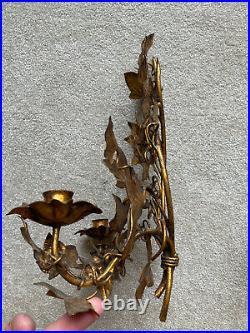 Vintage Gilt PAIR Metal Tole 2-Arm Wall Candelabra sconces Cascading Ivy Leaves