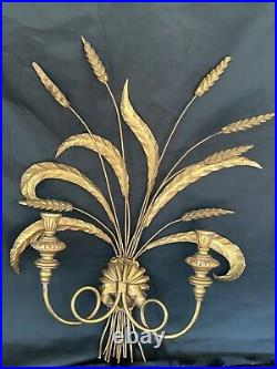 Vintage Gold Wheat Candle Wall Sconce Tole Toile Metal Wood Free Shipping