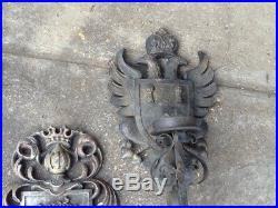 Vintage Gothic Medieval Spannish Revival Wall Mounted Candle Holder And Plaque