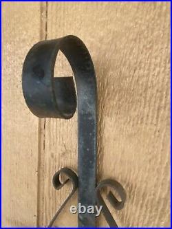 Vintage Gothic Onate Black Wrought Iron 3 Candle Holder Wall Candelabra