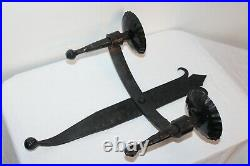 Vintage Gothic Wrought Iron Metal Wall Sconce Candle Holder Black Hold 2 Candles