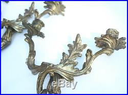 Vintage HEAVY Roccoco Victorian Style Candelabra Wall Sconce Candle Holder Brass