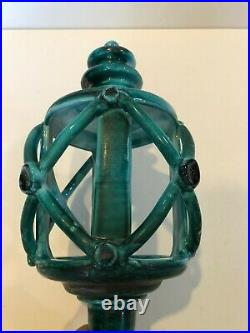 Vintage Hand Painted Italian Ceramic Wall Sconce Candle Holder, 14 T, 5 1/2 W