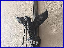 Vintage Heavy Brass Eagle 2-arm Wall Sconce Candle Holder withChain, 29 Tall