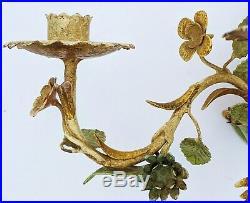 Vintage ITALIAN Painted Metal Mid-Century MODERN WALL SCONCE Flower Tree