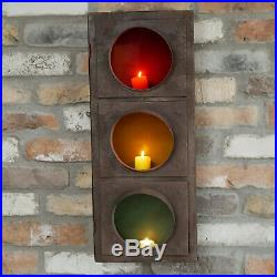 Vintage Industrial Metal Wall Home Traffic Light Pillar Tea Light Candle Holder