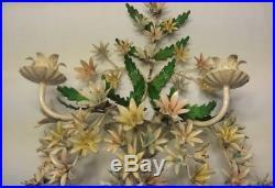 Vintage Italian Metal Flower Tole Wall Sconce