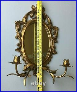 Vintage Italian Tole Gold Gilt Double Candle Holder Rococo Mirror Wall Sconce