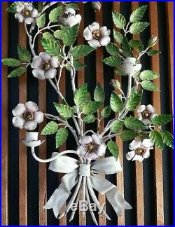 Vintage Italian Tole Wall Sconce Magnolia Wild Roses