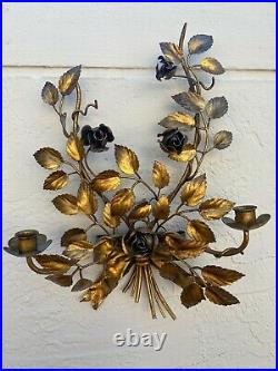 Vintage Italian Toleware Gilt Metal Floral Pair Of Wall Sconces Candle Holders